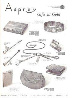 Asprey Gold Watch, Evening Bag, Cigarette Lighter, Case Gift 1956 Vintage Advert