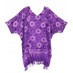 PURPLE BATIK Blouse Tunic Kaftan Caftan Top 1X 2X 3X 4X