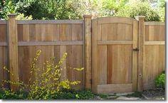 Simple finished look Red Cedar Fence. Cap Top Fence with rot board, Cedar Cap with Cedar Trim Cedar Gate, Cedar Fence, Fence Gate, Wood Fences, Arbor Gate, Wood Gates, Diy Fence, Wood Pergola, Backyard Pergola