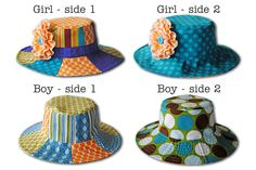 Patchwork Hat for Boys and Girls Reversible Sizes X Small to X Large Summer Daze Hat