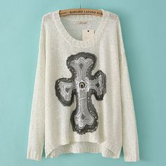 Price;$31.99 Color: Black/White Material: Wool Retro Chic Bead Rhinestone Embroidered Cross Knit Sweater
