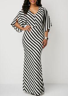 V Neck Slit Sleeve Stripe Print Maxi Dress Women's Fashion Dresses, Casual Dresses, Maxi Dress With Sleeves, Classy Dress, African Dress, African Print Fashion, Stripe Print, Clothes, Style