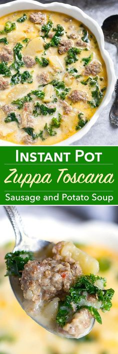 Instant Pot Zuppa Toscana (Sausage and Potato Soup) is hearty and full of rich flavor. One of my family's all-time favorites! Simple to make in your Instant Pot! simplyhappyfoodie.com #zuppatoscana #instantpotrecipes #instantpot #sausagepotatosoup #instan