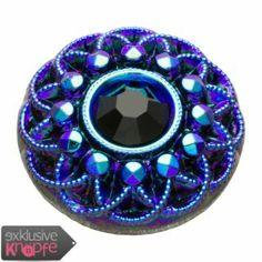 exklusive-knoepfe.de - Glasknopf mit Chatonstein und edlem Muster in Blau - Schwarz  14mm