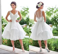Hot Elegant V Neck Lace A Line Cheap Short Wedding Dresses Plus Size Sheer Back Pleat Vintage Wedding Gown Robe De Mariee 2017 Silver Wedding Dresses Tea Length Wedding Dress From Ourfreedom, $107.64| Dhgate.Com