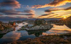 Download wallpapers Norway, ocean, rocks, coast, sunset, bay