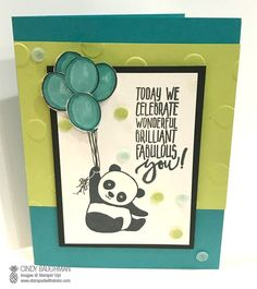 Bildergebnis für stampin up party panda Stampin Up Karten, Stampin Up Cards, Kids Cards, Baby Cards, Panda Party, Kids Birthday Cards, Scrapbooking, Congratulations Card, Animal Cards