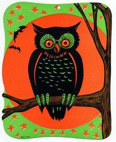 BEISTLE VINTAGE HALLOWEEN OWL CARDBOARD DIECUT DECORATION