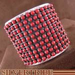 Native American Coral Sterling Silver Heavy Sturdy Cuff Bracelet DS53392