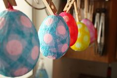 How to make: papier-mache eggs.  Fill them with surprises such as birthday favors or Easter treats...