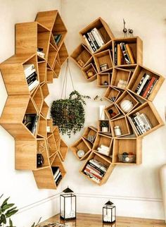 Wood Mandala Bookcase Design ★ When it comes to home decor projects, every single detail plays a crucial role, and bookcase is no exception. Check out the compilation of the latest bookcase arrangements to make your home design perfect. Wood Interior Design, Interior Design Living Room, Contemporary Interior, Kitchen Interior, Room Interior, Headboard With Shelves, Diy Casa, Diy Furniture, Home Design Furniture
