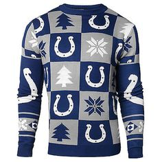 Indianapolis Colts NFL 2016 Patches Ugly Crewneck Sweater (L) c7e78d986