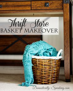 Striped Basket with Paint a fun thrift store makeover
