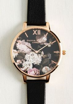 Half Past Bloom Watch in Rose Gold by Olivia Burton - Black, Floral, Work, Casual, Fall, Exceptional, Rose Gold, Leather, Metal - watches, the horse, michael kors, tissot, girls, classic watch *ad