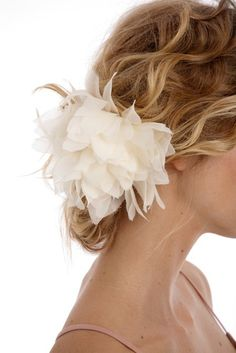037  JENNA  Wild Silk Chiffon Dahlia flower by UntamedPetals, $165.00    My wedding hair