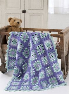 "Lullaby Granny Square Baby Blanket--Not a big fan of granny squares, but love the colors and overall ""feel"" of this baby 'ghan."
