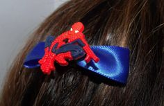 Spiderman inspired Hair Bow Barrette  by AtomicCatCreations, $6.00