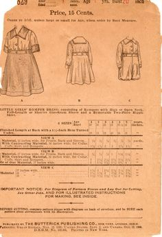 Pattern review & draft: Edwardian girl's romper plus detachable overskirt; vintage Butterick 7892, reviewed on Unsung Sewing Patterns blog (2 Mar. 2013)