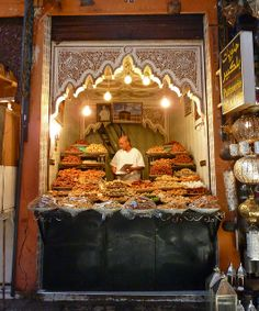 Sweet shop in the Medina of Marrakech. The sweets in Morocco are delicious