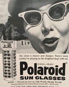 Fifties' ad for Polaroid sunglasses