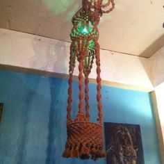 This large macrame plant holder with light stands 6 feet tall by 12 inches wide. We told you it was large!    6 ft tall x 12 in wide  $395
