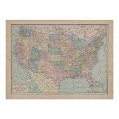 Vintage Map of  United States Print Thank you lovely customer in France!!!
