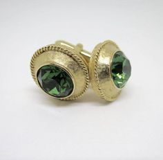 76e7360eaa7d Swank Cuff Links Gold Green Rhinestone Centers Textured Finish Large 11 mm  Faceted Emerald Glass Sets Vintage MidCentury Mens Suit Accessory
