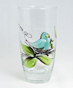 Verre à eau (510 ml) : : Oiseau   *** Produit peint à la main. Painted Wine Glasses, Pint Glass, Stained Glass, Pot Mason, Projects To Try, Creations, Bronze, Tableware, Painting