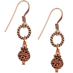 Charming Life Copper Balinese-style Bead Earrings ($13) ❤ liked on Polyvore featuring jewelry, earrings, pink, rectangle earrings, bead charms, beaded drop earrings, earring charms and long earrings