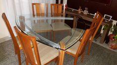 Mesa Triangular com Tampo de Vidro C 6 Cadeiras - 15683037 | enjoei :p