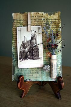 Mixed media collage - On glass - frame for vintage photo