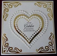 Handcrafted by Helen: 3 Golden Wedding Anniversary Cards<br> Wedding Day Cards, Wedding Cards Handmade, Greeting Cards Handmade, Handmade Engagement Cards, Wedding Gifts, 50th Anniversary Cards, Golden Wedding Anniversary, Anniversary Congratulations, Second Anniversary