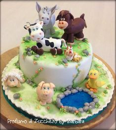 Hello everyone! This is the cake I made for the second birthday of my sweet little nephew that loves the farm animals … I hope you like it. thank you for watching. 2nd Birthday Cake Boy, Brithday Cake, Animal Birthday Cakes, Barnyard Cake, Farm Cake, Farm Animal Cakes, Farm Animals, Thomas Cakes, Cake Decorating Techniques