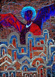 angel guardian is protecting the city as you can see, but it is difficult to see true face of an angel. See True, Archangel Gabriel, Canvas Prints, Framed Prints, Wood Print, Fine Art America, City Photo, Digital Art, Design Inspiration