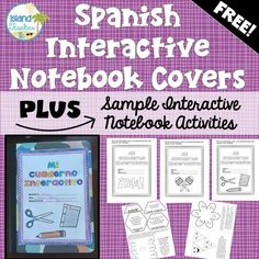 Spanish Interactive Notebook Covers and Sample Foldable Templates Spanish Interactive Notebook, Interactive Notebooks, Spanish Lesson Plans, Spanish Lessons, Spanish Teacher, Teaching Spanish, Spanish Classroom Activities, Classroom Ideas, Language Lessons