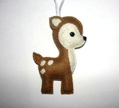 Wool Felt Deer Ornament, Deer Ornament, Kidsroom Decor, Baby Shower Gifts, Nursery Decor, Felt Animal, Birthday Gift, Woodland Animal