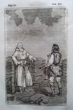 El Señor de Bembibre. Por Enrique Gil y Carrasco - (1844) Lámina XIV ... Una mañana pues, que Saldaña se paseaba por los adarves que miran al poniente y veia correo el Sil á sus pies con sordo murmullo, vino un aspirante á decirle que un montañés solicitaba hablarle... - Dios os guarde señor comendador. Acá estamos todos. -¿Eres tu, Andrade? respondio en comendador sorprendido. ...