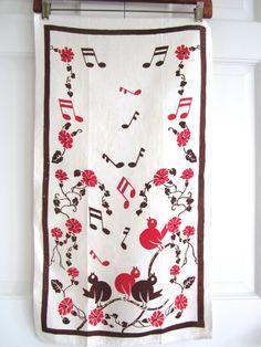 Vintage Song Bird Tea Towel Art Deco at NeatoKeen on Etsy