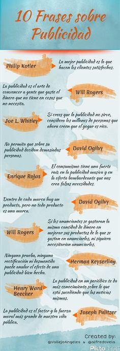 Infografía de excelentes frases en el ámbito de la publicidad. Buscar la inspiración, es una #solucion