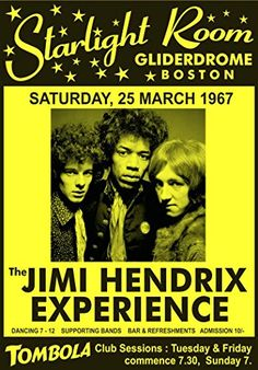"""The Jimi Hendrix Experience - Starlight Room, Gliderdrome, Boston 1967."" Fantastic A4 Glossy Art Print Taken from A Vintage Concert Poster by Design Artist http://www.amazon.co.uk/dp/B0155VJX5G/ref=cm_sw_r_pi_dp_K.o8vb1H1EGH9"