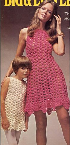Crochet Pattern Vintage 70s Crochet Dress Pattern-Crochet Girl Dress Pattern-Crochet Mother and Daughter Dress Pattern
