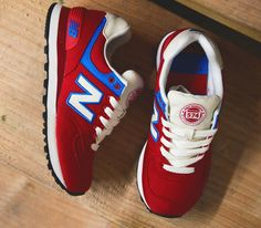 New Balance 574 – Red / Blue – White