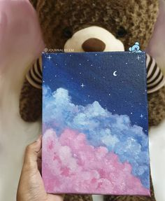 I added the moon and stars cause it felt incomplete🌙🌌(which one do you lik. Simple Canvas Paintings, Easy Canvas Art, Small Canvas Art, Easy Canvas Painting, Mini Canvas Art, Cute Paintings, Moon Painting, Drawing On Canvas, Trippy Painting