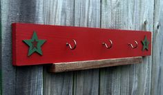 Christmas+Stocking+Hanger+Three+Hooks+Red+with+by+SuzsCountryPrims,+$21.95