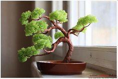 Как сделать дерево бонсай из бисера своими руками, несколько мастер классов создания бонсай в разных цветовых решениях, пошаговые фото и описание. Фото №30