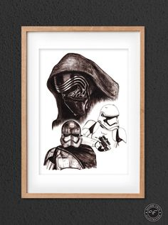 Items similar to Star Wars Movie Print // Kylo Ren // Captain Phasma // Ink Drawing // Star Wars Fan Art // The Force Awakens on Etsy Drawing Stars, Movie Prints, Star Wars Fan Art, Star Wars Gifts, Mandalorian, At Least, Just For You, Ink, Deco