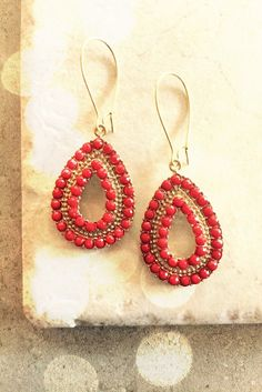 Hoop Earrings US FREE SHIPPING Red Coral Statement by LimonBijoux