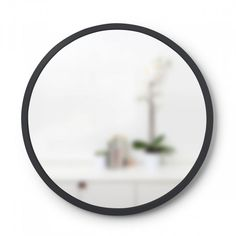 Add extra light and depth to any room with this Umbra Hub Mirror, This durable round mirror not only looks good but is protected, should it ever get knocked. Strong and stylish, with an industrial feel, this mirror is perfect for the modern home or Soap Dispensers, Round Mirrors, Hanging Wire, Living Spaces, Make It Yourself, Modern, Pictures, Industrial, Strong