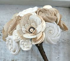 Handmade Burlap Flower, Vintage Book Page  Button Rose, and Fabric Rosette Heirloom Wedding Bouquet - Brown, Cream, Ivory, Vintage, Autumn on Etsy, $95.00