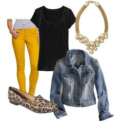 A fashion look from July 2012 featuring jersey t shirt, blue jackets and skinny jeans. Browse and shop related looks. Mustard Jeans Outfit, Yellow Jeans Outfit, Colored Pants Outfits, Mustard Yellow Pants, Orange Pants, Yellow Dress, Fall Outfits, Casual Outfits, Cute Outfits